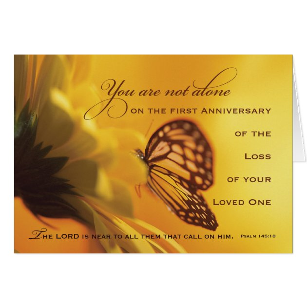 1st First Anniversary Death Of Loved One Flower Card Zazzle
