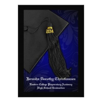 2014 Black and Blue Tassel Charm 5x7 Graduation Invitations