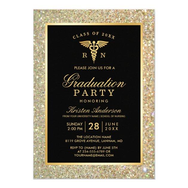 2018 Gold Medical Nursing School Graduation Party Card