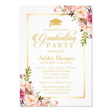 2018 Graduation Party Chic Floral Golden Frame Invitation