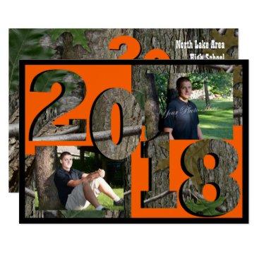 2018 Tree Camo Graduation Twin Photo Card