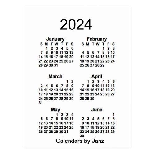 2024 White 6 Month Mini Calendar by Janz Postcard