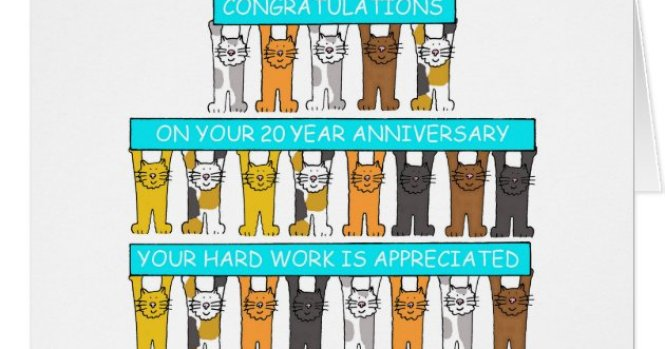 20 Year Work Anniversary Congratulations Card
