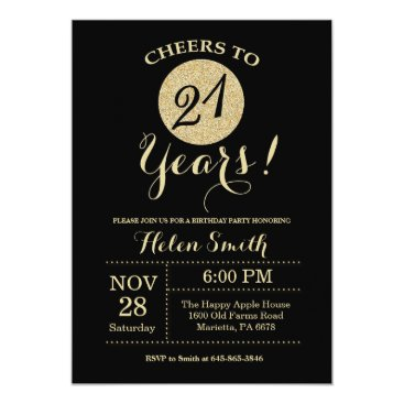 21st Birthday Invitation Black and Gold Glitter