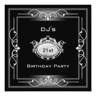 Silver And Black Frame Men 21st Birthday Invitations