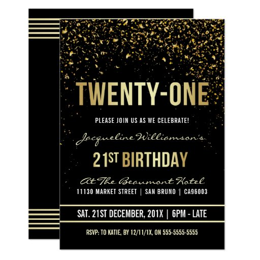 21st Birthday Party | Shimmering Gold Confetti Invitation