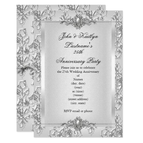 25th Anniversary Party Damask Silver White Invitation