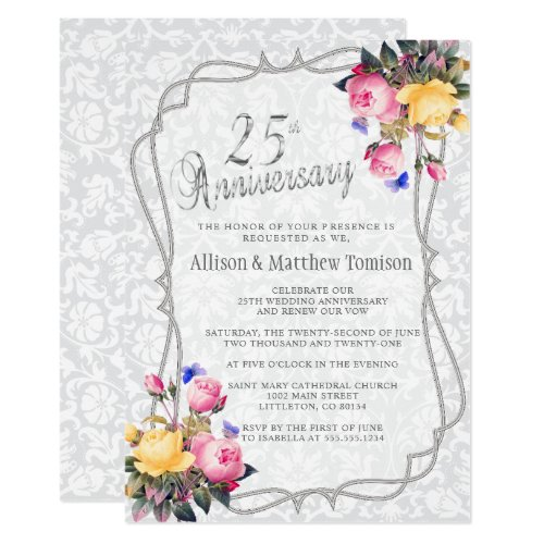 25th Silver Spring Wedding Anniversary | DIY Text Invitation