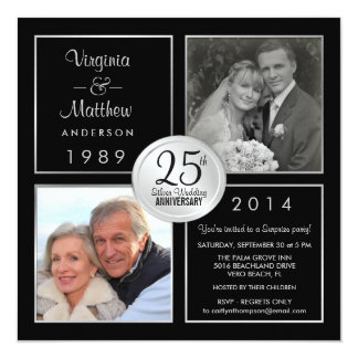 Cards 25th Wedding Anniversary Party Invitations Free