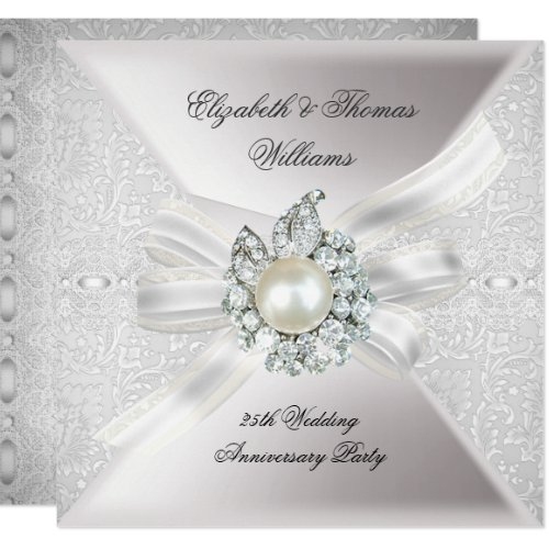 25th Wedding Anniversary Party Lace Pearl White Invitation