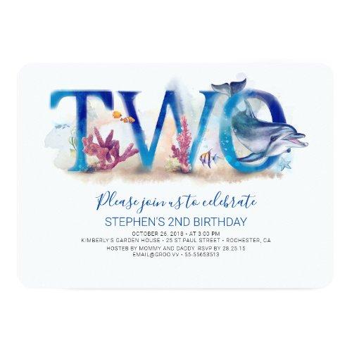 2 Birthday Invitation Ocean Underwater World