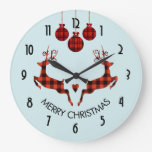 2 Christmas Deer Jumping Rustic Style Large Clock