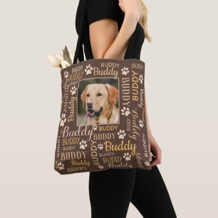 Pet Photo Name Collage - Personalized Photo Names Dog Tote Bags - 2 Personalized Photo Names | Brown Dog Tote Bag
