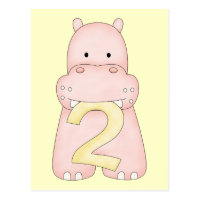 2nd Birthday Hippo (pink) Postcard