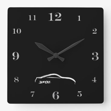 350Z white brushstroke logo Square Wall Clock