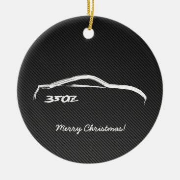350Z White Silhouette with Faux Carbon FIber Ceramic Ornament