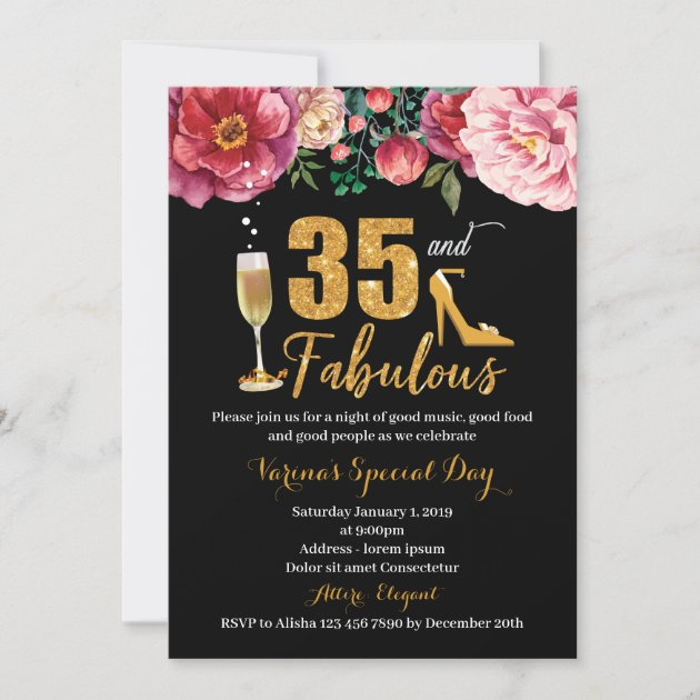 35th birthday invitation for women zazzle com