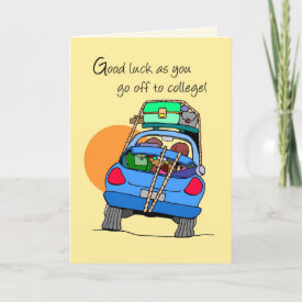 3758 Off to College Whimsical Car Greeting Cards