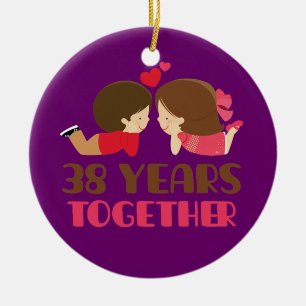 38th Wedding Anniversary Gift For Her Ceramic Ornament