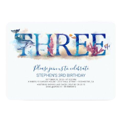 3 Birthday Invitation Under the Sea Dolphin