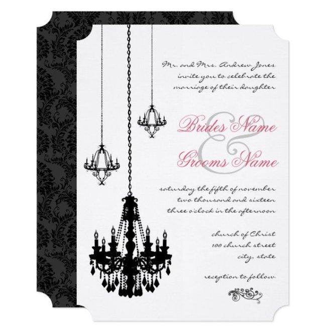 3 Black Chandeliers Wedding Invitations