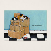 3 Cats & Boxes | We've Moved Announcement Business Card