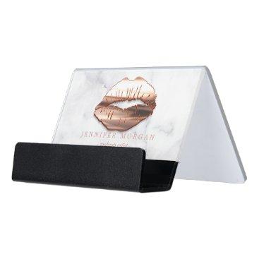 3D Rose Gold Lips White Marble Makeup Artist Desk Business Card Holder