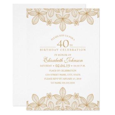 40th Birthday Party Unique Golden Lace Invitation