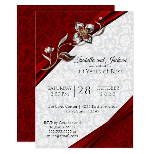 40th Ruby Floral Anniversary Design Invitation