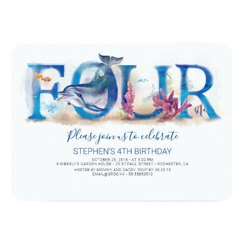 4 Birthday Invitation Blue Ocean Underwater World