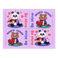 4 Cute Teddy Bear Valentine Flat Cards