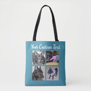 4 Photo Collage | Dog Blue Tote Bag