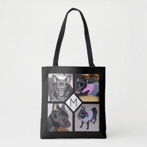 4 Photo Collage | Dog Initial  Black Tote Bag