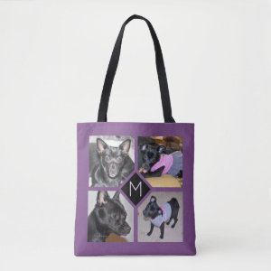 4 Photo Collage | Dog Initial  Purple Tote Bag