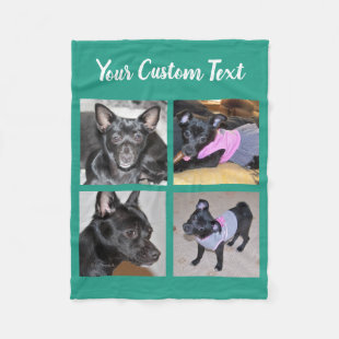 4 Photo Collage | Green Fleece Dog Blanket