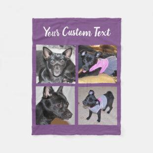 4 Photo Collage | Purple Fleece Dog Blanket