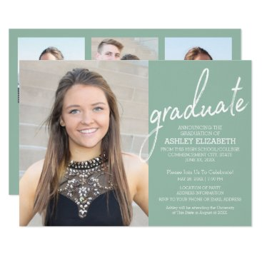 4 Photo Modern Graduation Photo Announcement