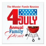 4th of July Family Reunion Picnic BBQ Cookout Invitation