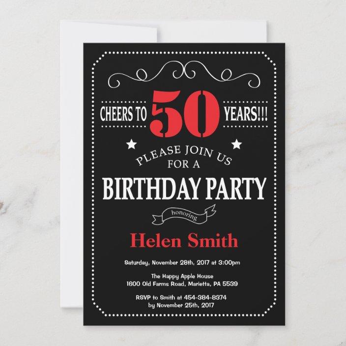 50th birthday invitation red and black chalkboard zazzle com