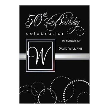 50th Birthday Party Adult - Silver Monogram Invitation