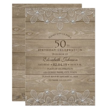 50th birthday party Rustic Wood Unique Lace Card