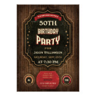 50th Birthday Vintage Chalkboard & Wood Personalized Announcement