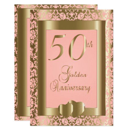 50th Gold and Pink Rose Wedding Anniversary Invitation
