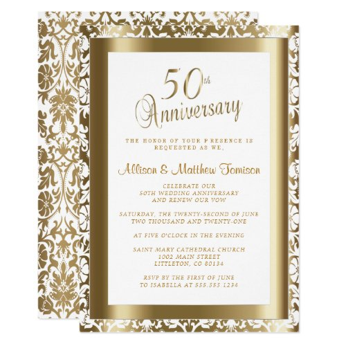 50th Golden &#128145&#x3B; Wedding Anniversary 2 | DIY Text Invitation
