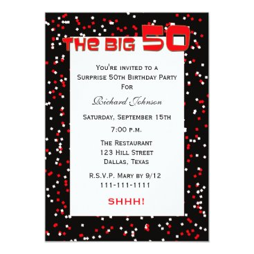 50th Surprise Birthday Party invitation Confetti