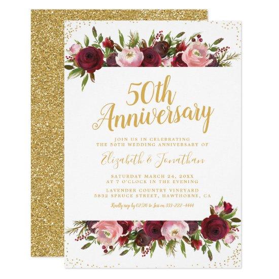 50th Wedding Anniversary Burgundy Blush Gold Invitation