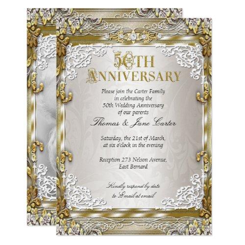 50th Wedding Anniversary Vintage Gold Beige Photo Invitation
