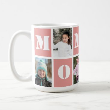 5 Photo Collage Heart Blush Pink Mother's Day Coffee Mug