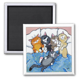 5 Sleepy Kittens - Cat Art Magnet