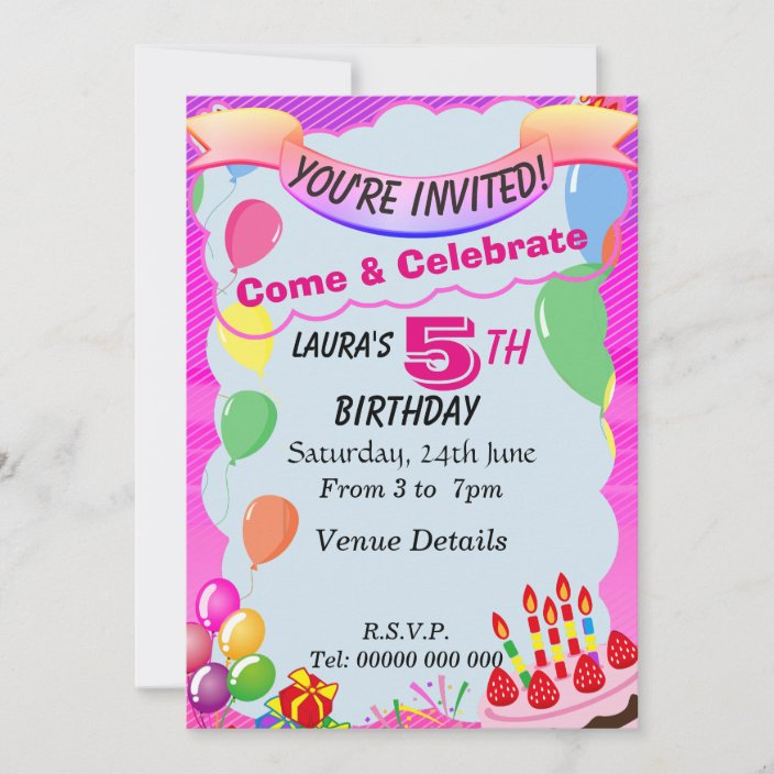 5 year old 5th birthday party invitation zazzle com